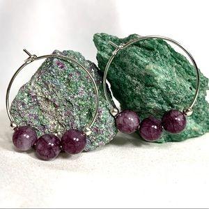 Jewelry - LEPIDOLITE Gemstone Hoop Earrings💝